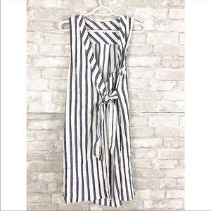 Free People Blue Vertical Stripe Wrap Dress